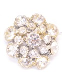 Vintage Costume Jewelry Brooch / Clear Rhinestone