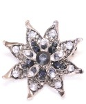 Vintage Costume Jewelry Brooch / Clear & Black