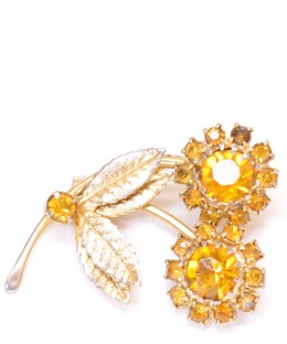 Vintage Costume Jewelry Brooch / Yellow stone