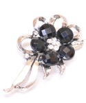 Vintage Costume Jewelry Brooch / Black stone