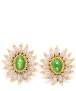 Earrings / Green Flower